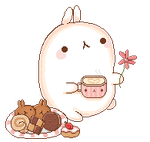 Animated Molang with Desserts by Ririiyu
