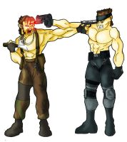 Naked Snake vs. Solid Snake by theonejanitor