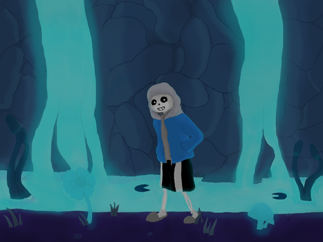 Sans with a waterfall by lexolad99