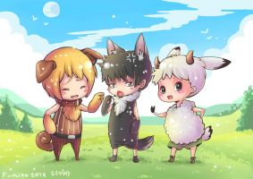 Dog, wolf and lamb. by Fusata