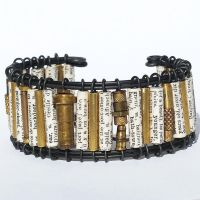Paper Bead and Found Object Bracelet by Tanith-Rohe