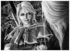 Father and Daughter - Ciri Pencil Portrait by Jooleya