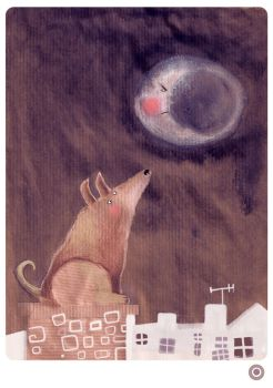 DOG AND THE MOON by krecha