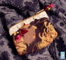 Purple kimono print coin purse by The-Cute-Storm