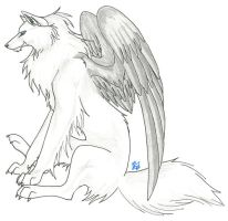 Silver Winged Wolf by CaptainMorwen