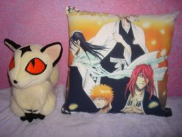 Kirara plush and Bleach pillow by DragonOfHuecoMundo