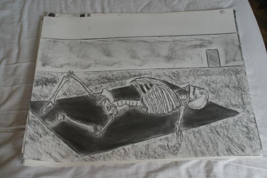 Charcoal drawing 2 - Skeleton by Katsmoka