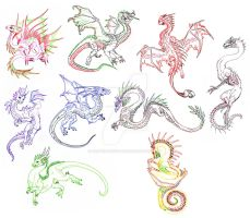 A Rainbow of Dragons by BraveBabysitter