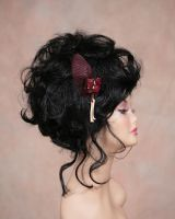 Sparrow wing fascinator with mink bones by Genevieve-Amelia