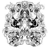Goblin Queen Symmetry Inks by RobertDanielRyan