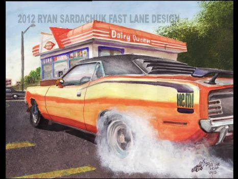 1970 Plymouth Cuda Burnin' Rubber (painting) by FastLaneIllustration