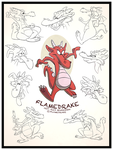 Comm. - FlameDrake Model Sheet by AlexanderHenderson