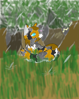 Caught in the Rain- Commish by Silver-Storm-Dragon