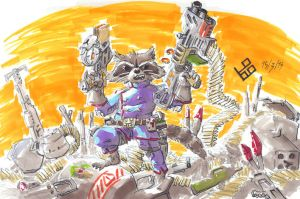 Rocket Raccoon Fan Art by LOBO-X