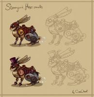 Steampunk hare mounts by CoraOrvat