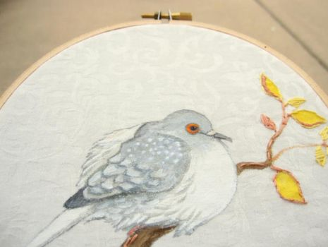 diamond dove embroidery hoop painting by Blue-MonsterOwO