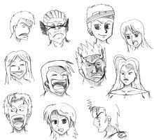 Oda style expressions (sketches) by GiaSecando