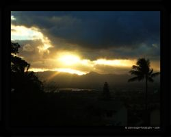 Sunset on Pearl Harbor Hawaii by LeslieE
