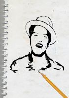 Bruno Mars Pencil Draw by therealkevinlevin