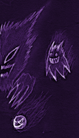 Gastly, Haunter and Gengar! by OswaldLunaire