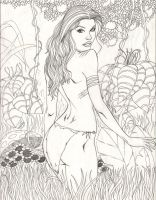 Jungle Girl Line Art by easyt63