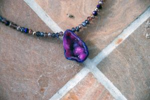 Andromeda Galaxy Geode Amulet Necklace by kittykat01