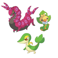 Scolipede, Snivy and Sewaddle by HappyCrumble