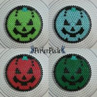 Pumpkin Coasters 2 by PerlerPixie