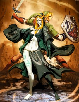 Zelda - Midna and Link by GENZOMAN