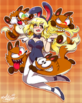 ANIME Bunny Girl attacked by Crazy TOON Foxes by Master-Rainbow