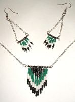 Chevron Earring Necklace Set by lettym