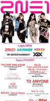 Pack of Logos and Fonts of 2NE1 by capsvini