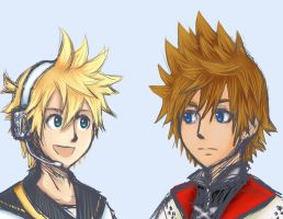 Roxas and Len by Keyblades-chosen-one
