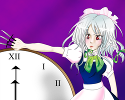 Sakuya's knives  in time (close up) by Krimzoon