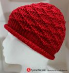 Loom Knit Hat - The Diamond Brocade Beanie by LoomaHat