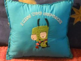 GIR Embroidered Pillow by ElleDOS