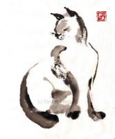 Ilustration for asian story about Cat and Samurai by Rencova