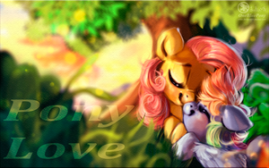Sketch - FlutterShy and Rainbow Dash - Pony love by Obpony