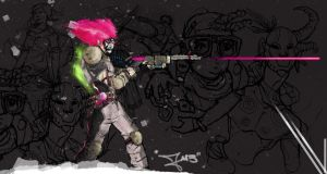 Hot Pink Gunner in a snow storm by iJayRoc