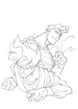 superman vs Goku cover-part 1 by mistermoster