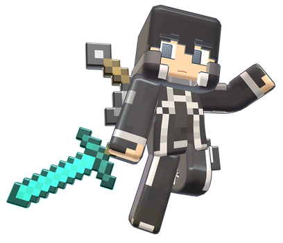 MMD Minecraft Smooth Steve preview Kirito by 495557939