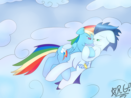 Cuddling in the Skies. by Wolfbaloo