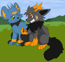 Shinx Rin and Zorua Ash by Toby-Wolfkat