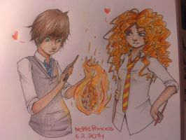 Hiccup and Merida HarryPotterAU by NettlePrincess