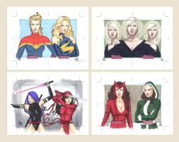 Women of Marvel series 2, double cards by AllisonSohn