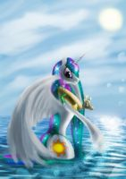 Celestia on vacation by Zolombo