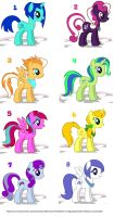 FREE pony adoptables (CLOSED) by NightFever100