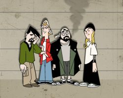 Clerks line up by Makinita