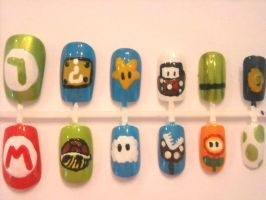 Mario Themed Nail Set by OMG-itz-J3551K4
