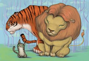 Big cats, small cat by poompoom